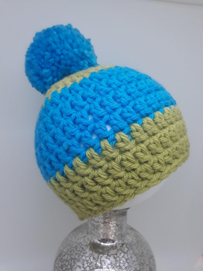 Turquoise /& Applebob Green 0-6mth Baby Beanie