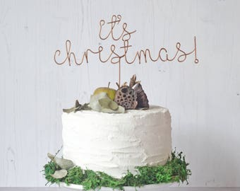 Wire It's Christmas Cake Topper