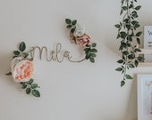 Floral Name Signs, Wire Name Sign Peony and Rose Silk Flowers