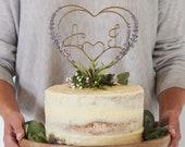 Lilac Lavender Heart Wedding Cake Topper