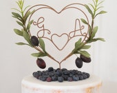 Olive Personalised Heart Wedding Cake Topper