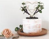 Dark Lavender Heart Wedding Cake Topper