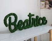 Moss Names, Childrens Wall Art, Grass Names, Living Names, Wall Decor, Home Decor, Woodland Nursery, Name Signs