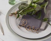 Copper place setting, name wedding favours, copper table names, wire table names, wire names, christmas place settings, wedding favours