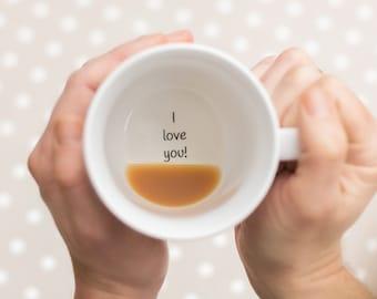 Je t'aime Mug, tasse de café, je t'aime, aimez vous plus, je m'ennuie de vous cadeau, cadeau pour femme, cadeau pour maman, Mug Message Secret, j'aime ma femme