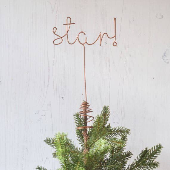 Letter Christmas Tree Topper: Wire Star Word Tree Topper