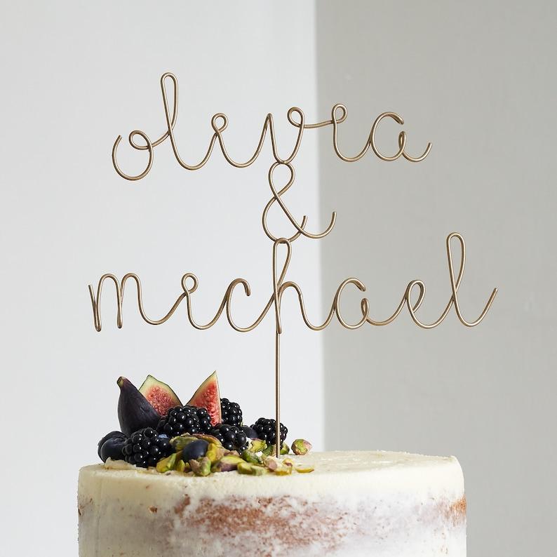 Name Cake Topper, Wedding Cake Topper, Unique Cake Toppers, Gold Name  Topper, Wire Cake Topper, Custom Cake Topper, Cake Topper Letter
