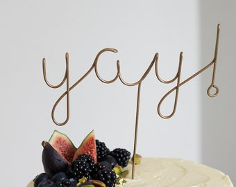 Copper Cake Toppers, Yay Cake Topper, Yay, Wire Cake Topper, Wedding Cake Topper, Cursive Cake Topper, Funny Cake Topper, Cake Topper