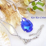 Necklace, Teardrop, PEAR pendant, swarovski crystal, blue Bermuda shorts, silver plated leaf bail, stainless steel chain, whimsical jewelry, women's fashion