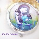 Pocket mirror, round, 70 mm, glass cabochon, pattern, modern, blue, green, Little Mermaid, world marine, wife, useful fashion accessory, practical