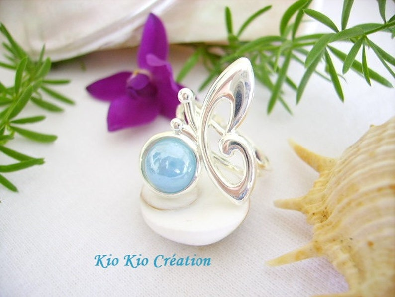 ceramic round cabochon Blue Lagoon glossy open Adjustable ring Butterfly Adjustable ring silver 10 microns women/'s fashion creation jewelry