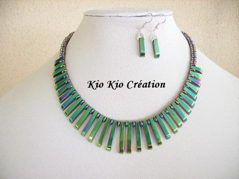 green dominance during bead hematite women/'s fashion jewelry silver Rainbow Choker necklace bib extension iridescent green titanium