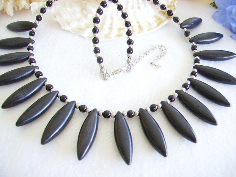 extension Czech glass bead women/'s fashion jewelry opaque black silver Pearl drop stone ball stainless steel Crew neck howlite