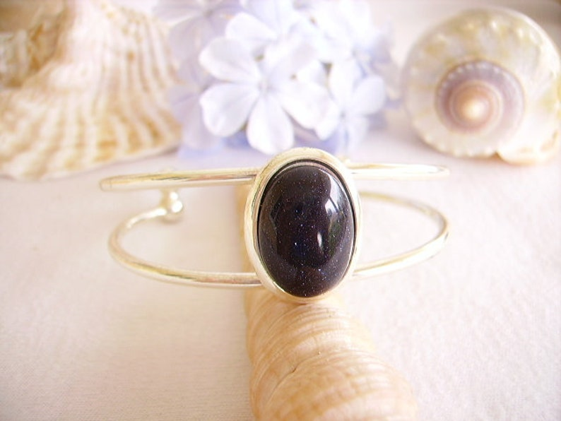 gift idea Blue Navy whimsical jewelry Bangle is oval cabochon stone silver women double open oval ring