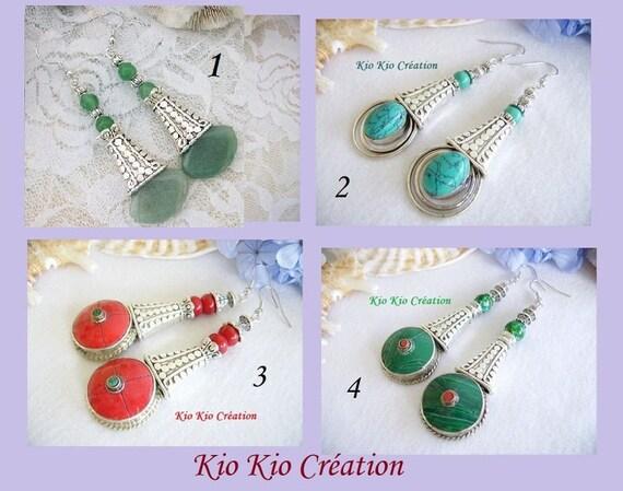 Vintage Boho Tibétaine Argent 925 Turquoise Dangle Crochet Boucles D/'oreilles Femmes Bijoux