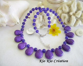 Necklace, Choker, purple, Pearl drop howlite stone bead round jade, seed glass beads, extension chain, silver jewelry fashion