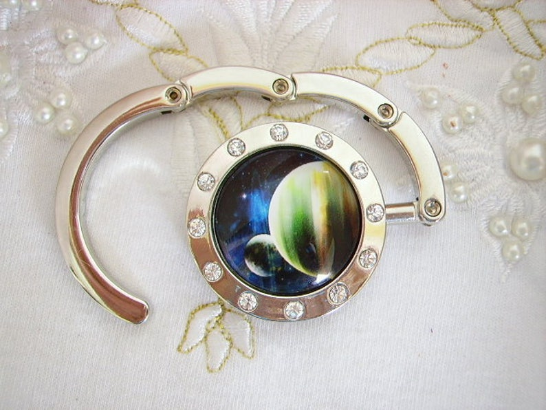 fashion women/'s fashion silver planet with Rhinestones pattern glass cabochon accessory practical and useful. Catcher handbag dial