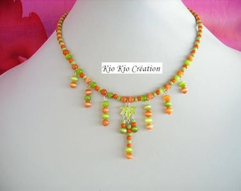 Crew neck, Native American, green and orange, Pearl glass, seed beads, extension chain, silver, whimsical jewelry, women's fashion