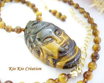 Necklace, Buddha Tiger eye, ocher, beige, Brown, matching bead, glass beads, extension chain, gold tone metal fashion women jewelry