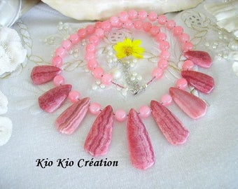 Pink necklace, Rhodochrosite, gemstone, glass bead, seed beads, extension chain, silver, whimsical jewelry, women, gift idea