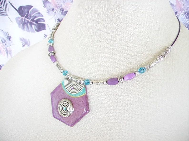 purple wood Choker necklace hexagonal pendant ethnic beads clasp screw silver print turquoise women/'s fashion jewelry