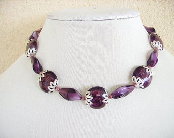 Necklace, Plum, Amethyst, handcrafted, round glass bead, oval twisted, seed beads, extension chain, silver, whimsical jewelry, women's fashion.