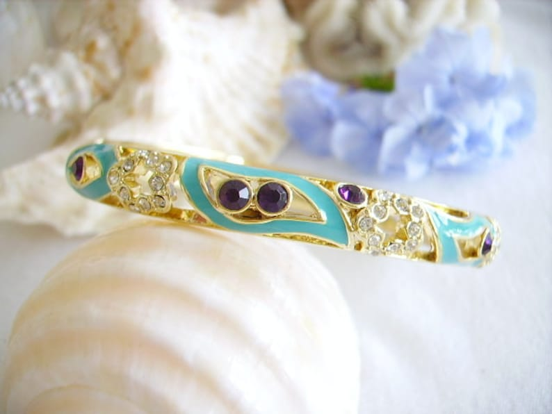 Vintage Bangle new condition gold plated amethyst and transparent Rhinestones oval ring women/'s fashion jewel turquoise blue enamel clip clasp