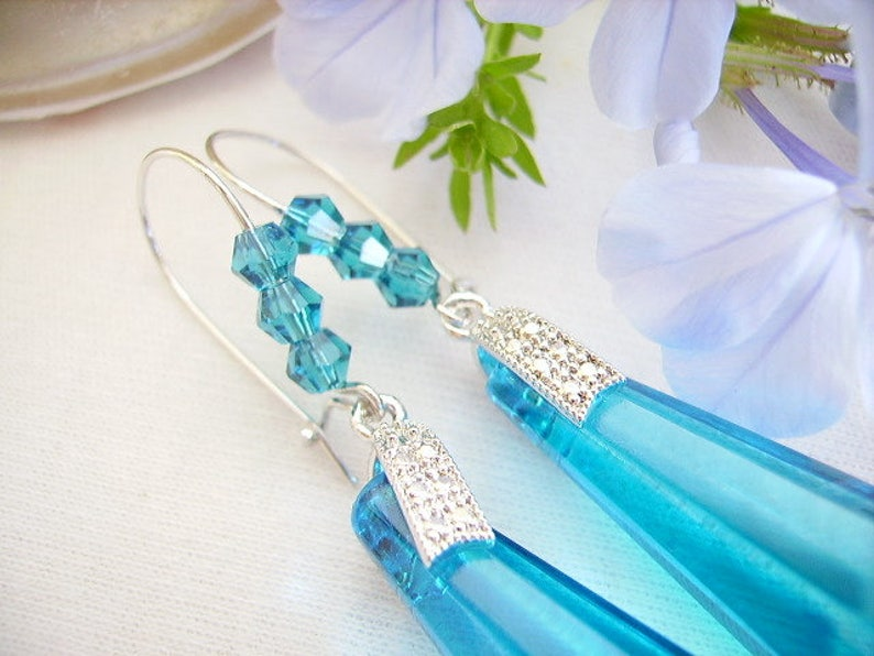 women/'s fashion jewelry stud earring hooks Blue turquoise earrings bead dagger bead faceted bicones silver tied with cubic zirconia