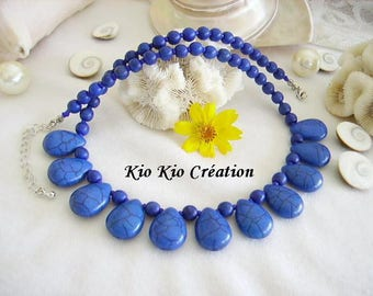 Crew neck, blue Sapphire, Pearl round and drop howlite stone, seed beads, extension chain, silver, women's fashion accessory