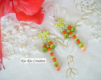 Native American, green and orange, chandelier earrings, Pearl glass, seed beads, hook, silver, whimsical jewelry, women's fashion.
