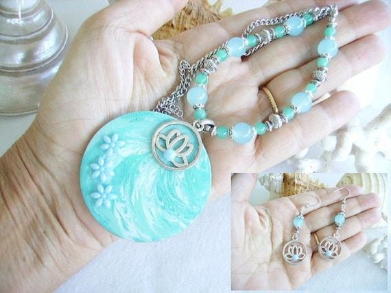 """1F Un 32/"""" turquoise perle ~ ~ 8mm Ronde Perles de verre ~ ~ bracelets collier"""