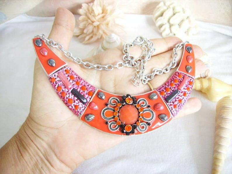 boho necklace extension Rhinestones Ethnic resin cabochon silver chain ceramic red bib necklace women/'s fashion jewelry enamel
