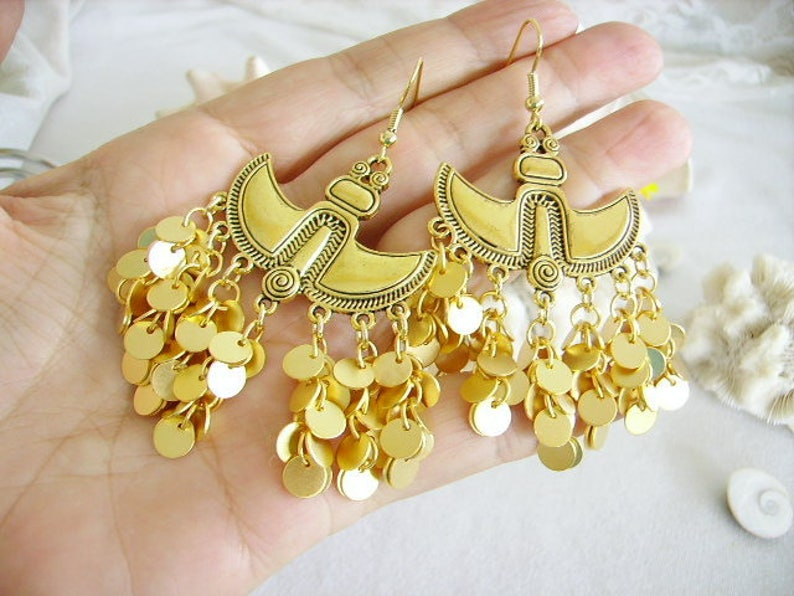 hook metal ornaments whimsical jewelry gold Golden earrings the treasure of the Incas women/'s fashion ethnic chandelier fan sequin
