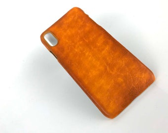 Leather iPhone XR Case, iPhone XS Max Leather Case 'Tumble - OldTan'
