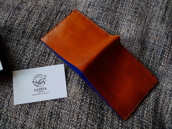 Portefeuille en cuir homme, portefeuille homme, fait à la main Mans portefeuille, portefeuille incrustation en cuir «Beige / bleu»