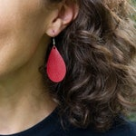Small Leather Earrings Teardrop - Custom Game Day Team Colors - Sports Jewelry for Mom