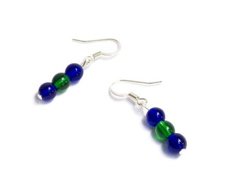Blue and Green Earrings - Royal Blue Jewelry - Royal Blue Earrings - Hockey Jewelry - Hockey Gift for Women - Hockey Earrings - Jewelry Gift
