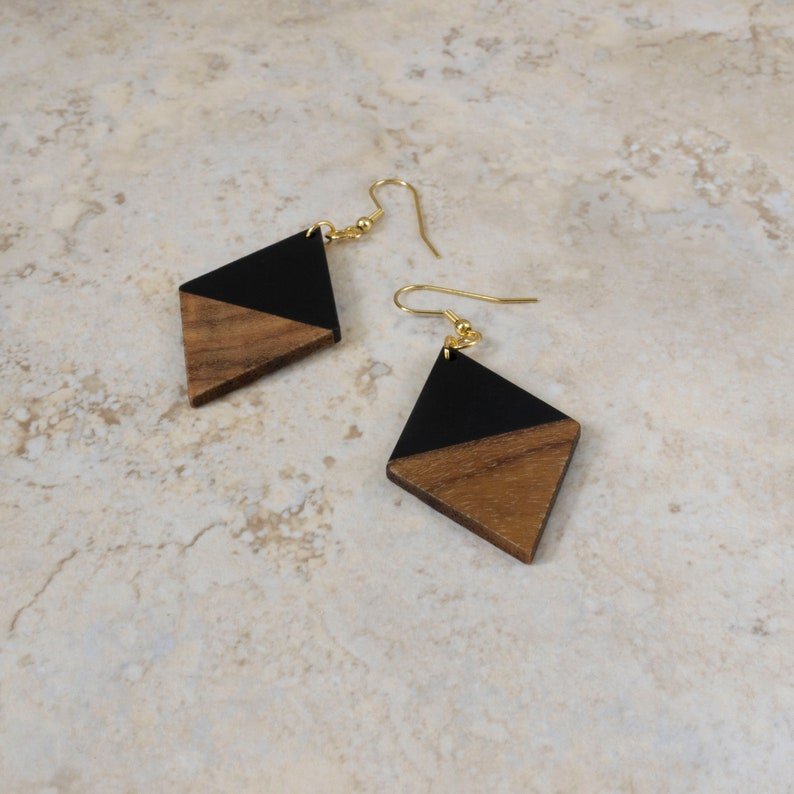 Winter White and Autumn Jewelry Creamy White Geometric Earrings Wood and Resin Diamond Shape Earrings