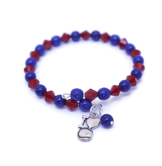 6de9b7a6b0 Baseball Mom Beaded Bracelet I Love Baseball Charm Choose   Etsy