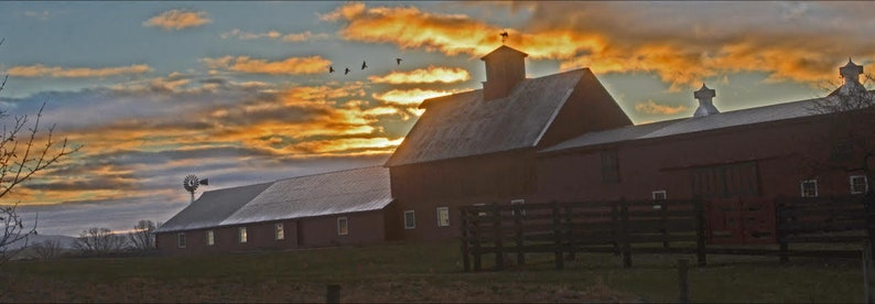 93e2653cb8de6 Vermont barn at sunrise panoramic of rural Vermont red   Etsy