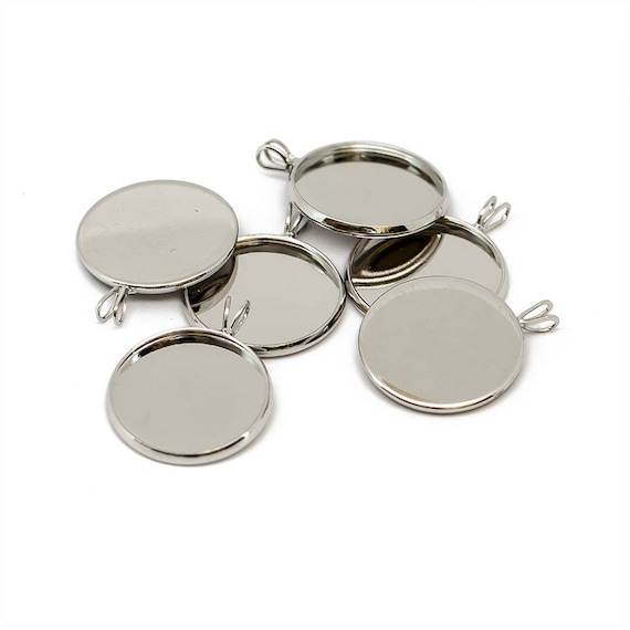 28mm Silver Tone Round Circular Brooch Badge Setting Blanks Fits 25mm Cabochon
