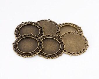 12x Antique Bronze Flower Design 19mm Cabochon Setting