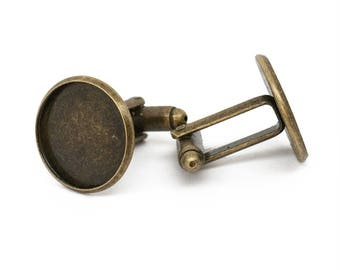 20x 18mm Antique Bronze Cufflink Setting Blanks Fits 16mm Cabochon