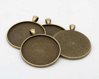 10x Antique Bronze 40mm Circular Round Pendant Fob Blank Settings