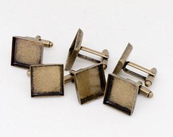 20x Antique Bronze 16mm Square Cufflink Setting Blanks