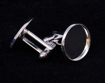20x 20mm Silver Tone Cufflink Setting Blanks Fits 18mm Cabochon