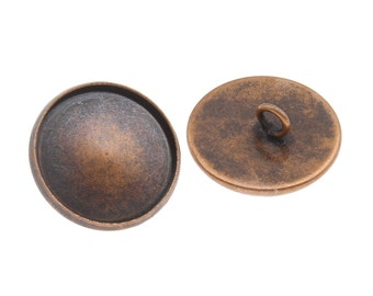6x Antique Copper Button Setting Blanks Fits 18mm Cabochon