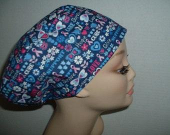 6543f1f6d4c Blue Euro OR Scrub Hat Breast Cancer Awareness Pink Ribbons Hope European
