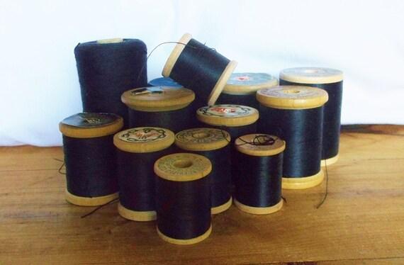 13 vintage shades of black thread spools free shipping etsy
