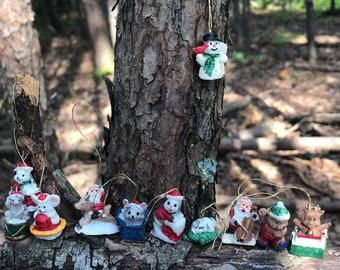 "Set of 20 Vintage Miniature Glass Handpainted Christmas Ornaments Animals Santa Tiny Stockings 1"" or Smaller"
